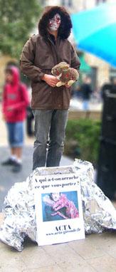 bilan stand fourrure + noël sans cruauté Statue_acta_fourrure